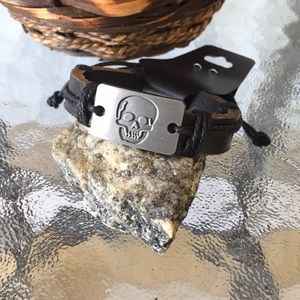 Men's Faux Leather And Cord Bracelet With Skull